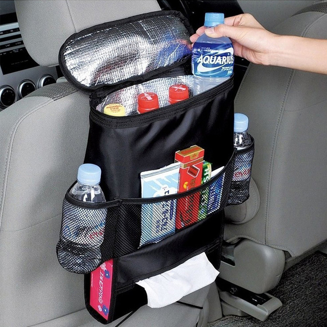 Car Seat Back Hanging Bag Organizer Multi-pocket Insulated Food Water Storage Mesh Bag Container Car Stowing Tidying Bags