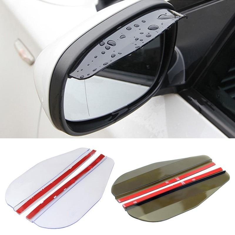 2pcs PVC Car Rear View Mirror Sticker Rain Eyebrow Weatherstrip Auto Mirror Rain Shield Shade Cover Black Protector Guard