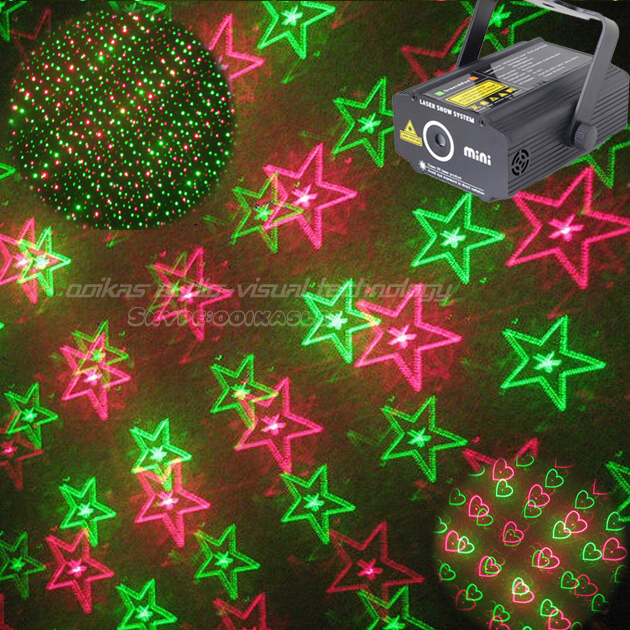 mini projector laser for party dance disco rigido red green star