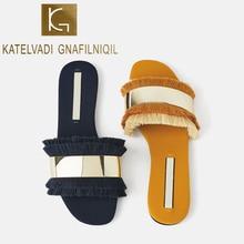 KATELVADI Women Slippers Summer Sandals Fringe Indoor Outdoor Beach Women Shoes Female Flat Sandals K-444 цена