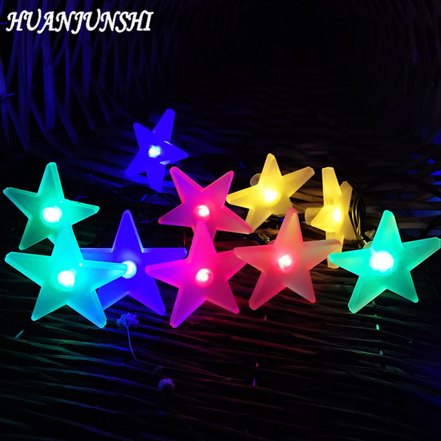 huanjunshi 30 led solar panel outdoor lighting star shape christmas lighting balls wedding decoration energy