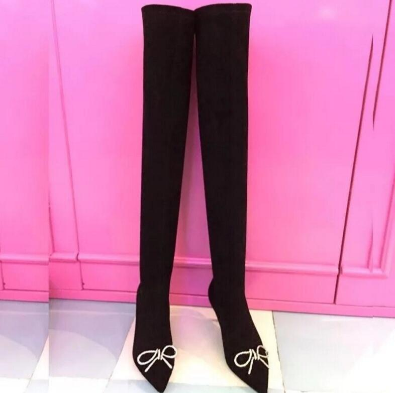 Fashion Hot Black Kid Suede Thigh-High-Boots Crystal Over-the-Knee Boots Butterfly-Knot Thin Heel Women's Shoes ppnu woman winter nubuck genuine leather over the knee snow boots women fashion womens suede thigh high boots ladies shoes flats