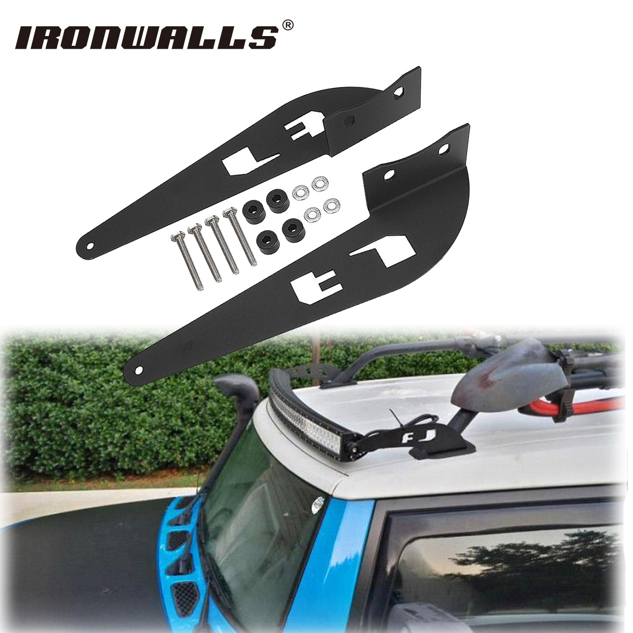 Ironwalls Pair 52inch LED Light Bar Mounting Brackets Mount Kit Car Offroad  Straight/Curved Base For Toyota FJ Cruiser Roof Rack