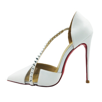 Big Size 34 45 Super Thin Heels Spike Cross Strap Elegant Women Pumps Real Leather Sexy Studs Stiletto Heels Shoes