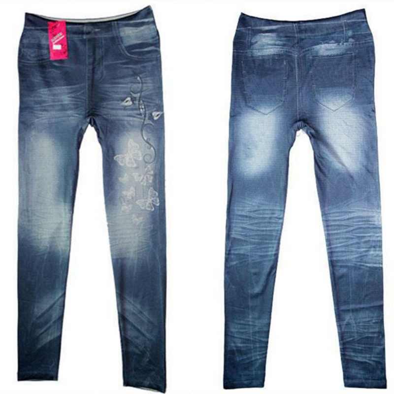 ใหม่แฟชั่น 2018 ผู้หญิง Leggings คลาสสิกยืด Slim Leggings เซ็กซี่เทียม Jean Skinny ฟิตเนส Legging กางเกง Skinny W1 W2