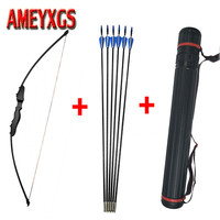 40lbs Archery Recurve Takedown Bow Straight Bow Long Bow With 6pcs Fiberglass Arrows Outdoor Hunting Shooting Accessories