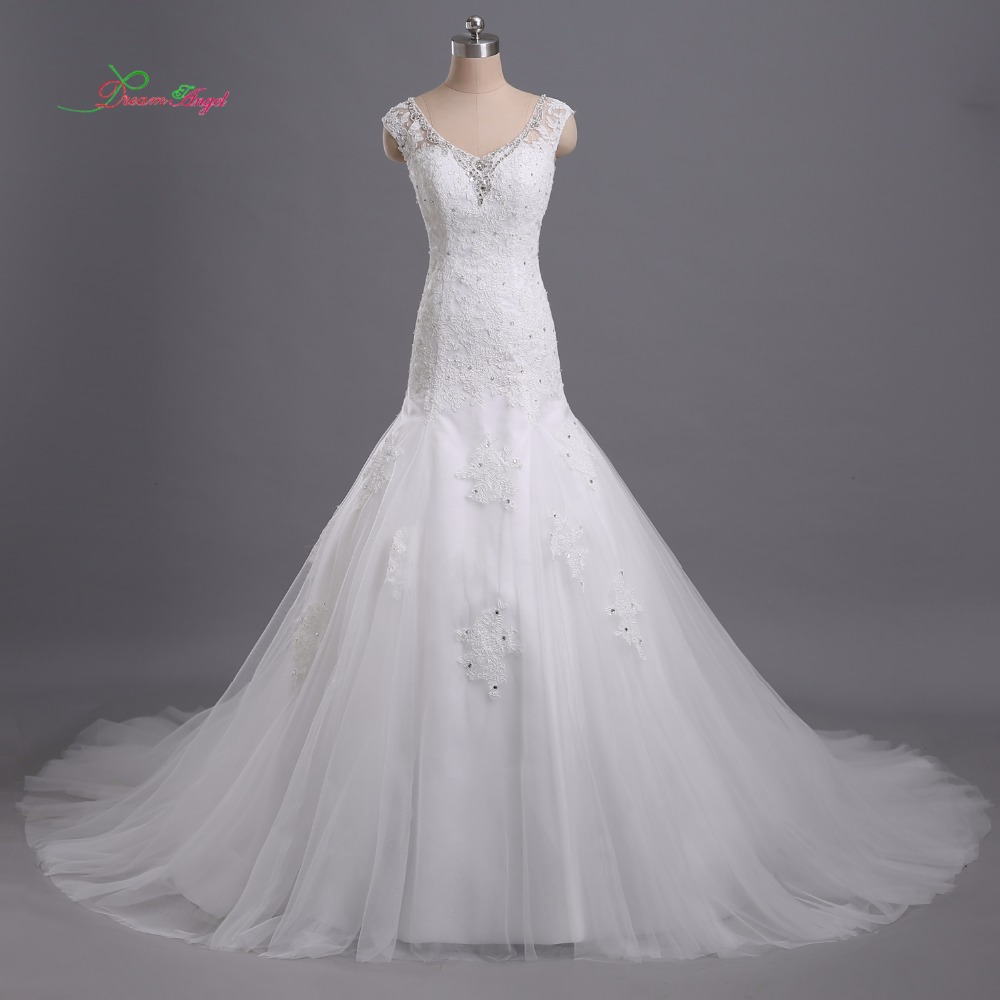 V Neck Lace Wedding Dresses: Dream Angel Elegant V Neck Lace Mermaid Wedding Dress 2018