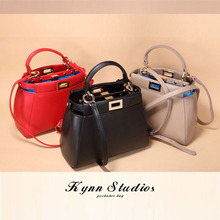 Hottest fashion brand lovely real leather monster Eyes mini peekboo handbag ,women genune leather shoulder bag,free shipping