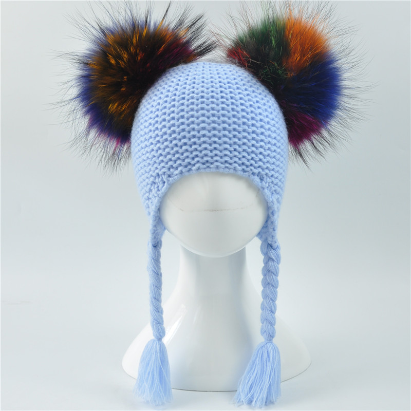 Baby Hat Autumn Winter 2017 Beanie Hat with Double Real Fur Pompom Warm Wool Toddler Cap Multicolor Kids 2 Real Fur Pom Pom Hat gift children knitting wool hat cute keep warm rabbit beanie cap autumn and winter hat with earflaps whcn