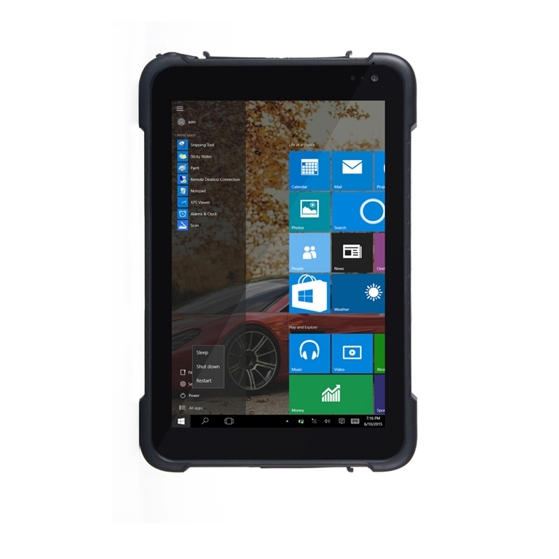 8 inch 2GB 32GB windows 10 Pro tough pad and rugged Tablets for outside working with NFC
