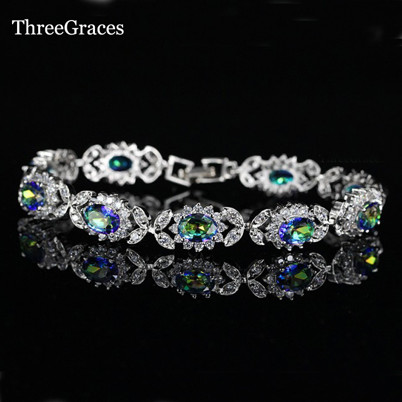 ThreeGraces Luxury Silver 925 Jewelry CZ Stone Pave Light Blue Rainbow Mystic Crystal Flower Bracelets Bangles For Women BR83