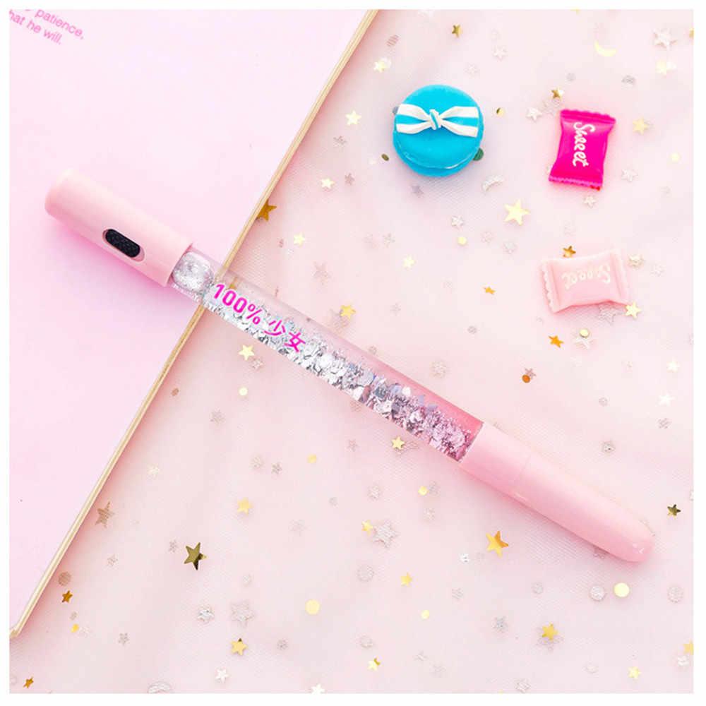 Lovely Fairy Stick Shining Drift Sand Glitter ปากกาลูกลื่นคริสตัลสายรุ้งสี Creative Ball ปากกาเด็กความแปลกใหม่เครื่องเขียน B050