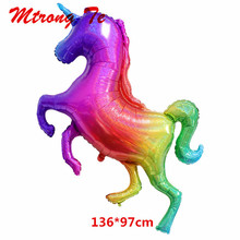 136x97cm Large Laser Unicorn Balloons Material Rainbow Horse Foil Balloon Baby Birthday Pa