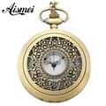 25pcs/lot Antique Bronze Men Womens Vintage Necklace Hollow Flowers Pocket Watch reloj de bolsillo send by EMS or DHL