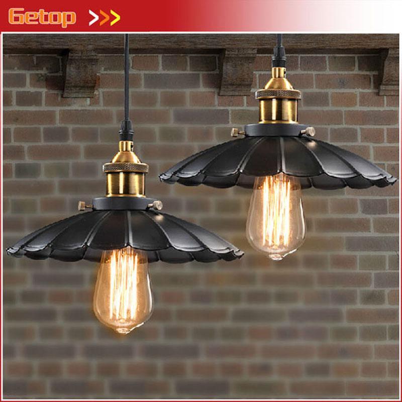 European 1pc Iron Umbrella LED Pendant Lamp Retro Edison Vintage  Industrial Lamp Black E27 Bulb Cafe Bar Restaurant Lights vintage edison chandelier rusty lampshade american industrial retro iron pendant lights cafe bar clothing store ceiling lamp