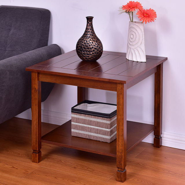 Wood Side Tables Living Room Swivel Chairs For Sale Giantex Table End Night Stand Coffee With Storage Shelf Walnut Furniture Hw56279