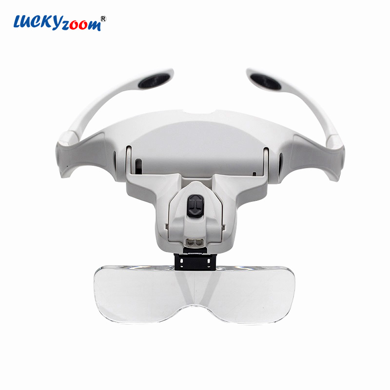 Headband Glasses Magnifier For Repair 1X 1.5X 2X 2.5X 3.5X LED Magnifier With Illumination Jewelry Loupe Magnifying Glasses Lupa