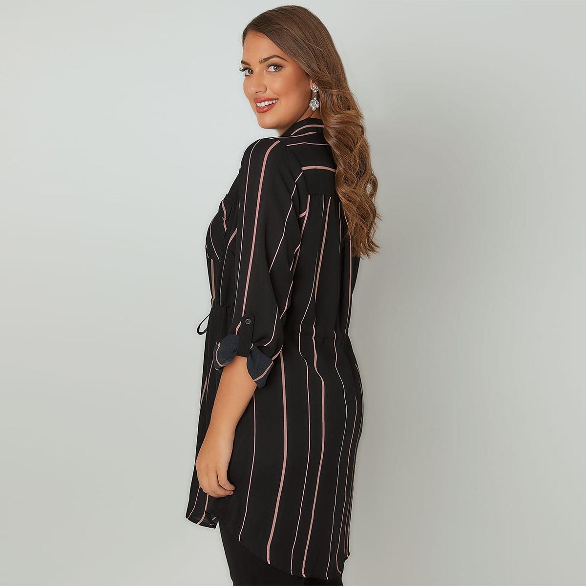 MCO 2018 Spring Simple Tie Waist Plus Size OL Stripe Shirt Casual Oversize Long Office Ladies Blouse Basic Big Women Top 6xl 7xl 2