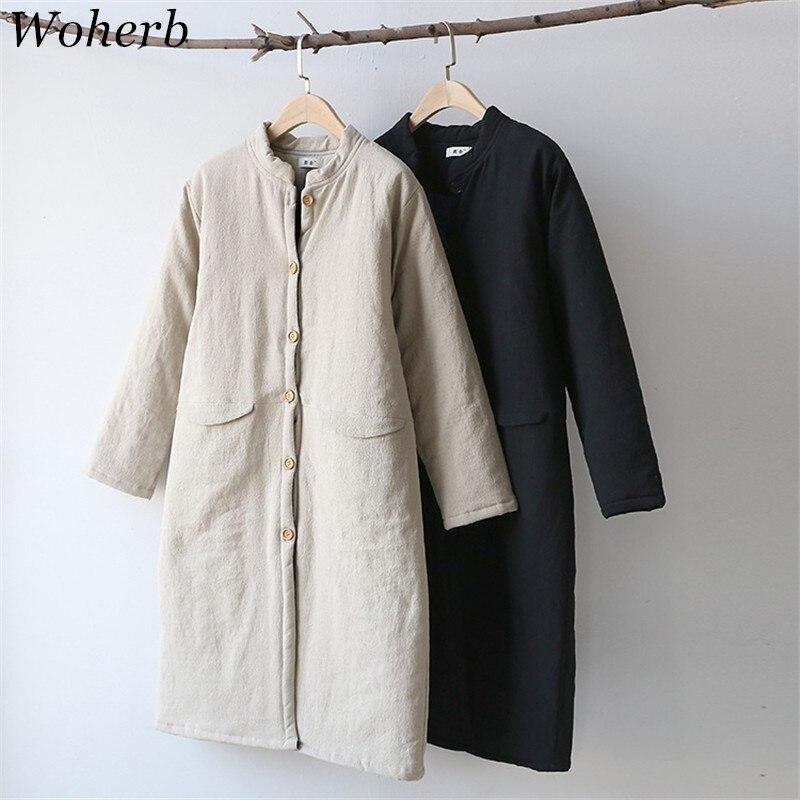 Woherb冬新しいファッション女性パーカーヴィンテージコットンリネンカジュアルロング暖かいコートソリッドスタンド襟パッド入りジャケット73683  グループ上の レディース衣服 からの パーカー の中 1
