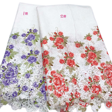 New Arrivals Voilet & Red Flower Lace Fabric Prints High Quality  Enbroidered For Women Dress