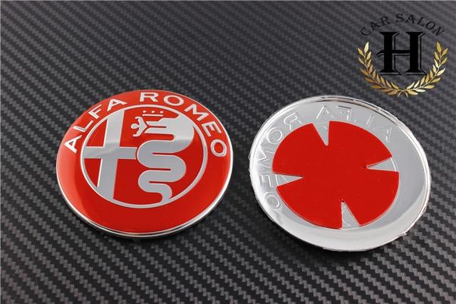 2pcs Black White Red 74mm 74cm Alfa Romeo Car Logo Emblem Badge