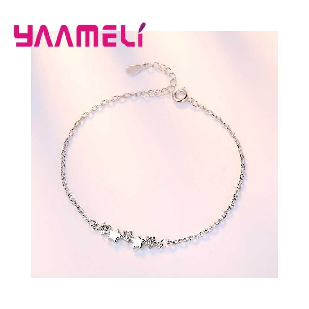 Высокое качество 925 пробы серебряный австрийский Кристальный Браслет Подвески в виде звезд женские браслеты для девочек ювелирные изделия красивые рождественские подарки