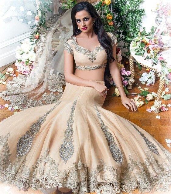 de lujo de dos piezas indio vestidos de novia Árabe 2017 champagne