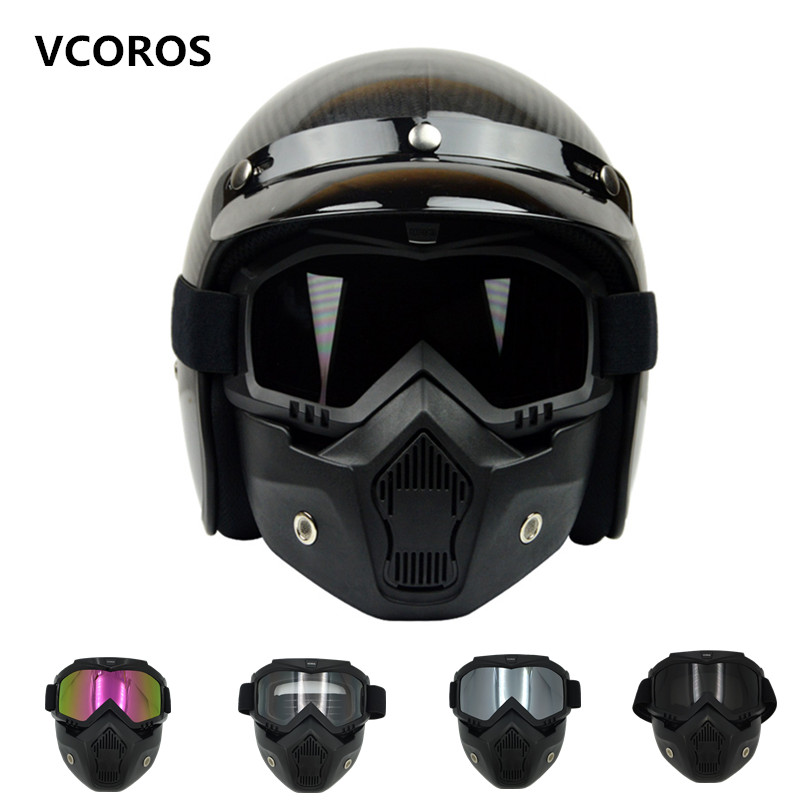 New VCOROS Modular Mask Detachable Goggles And Mouth Filter Perfect for Open Face vintage Motorcycle Helmets Coslplay mask