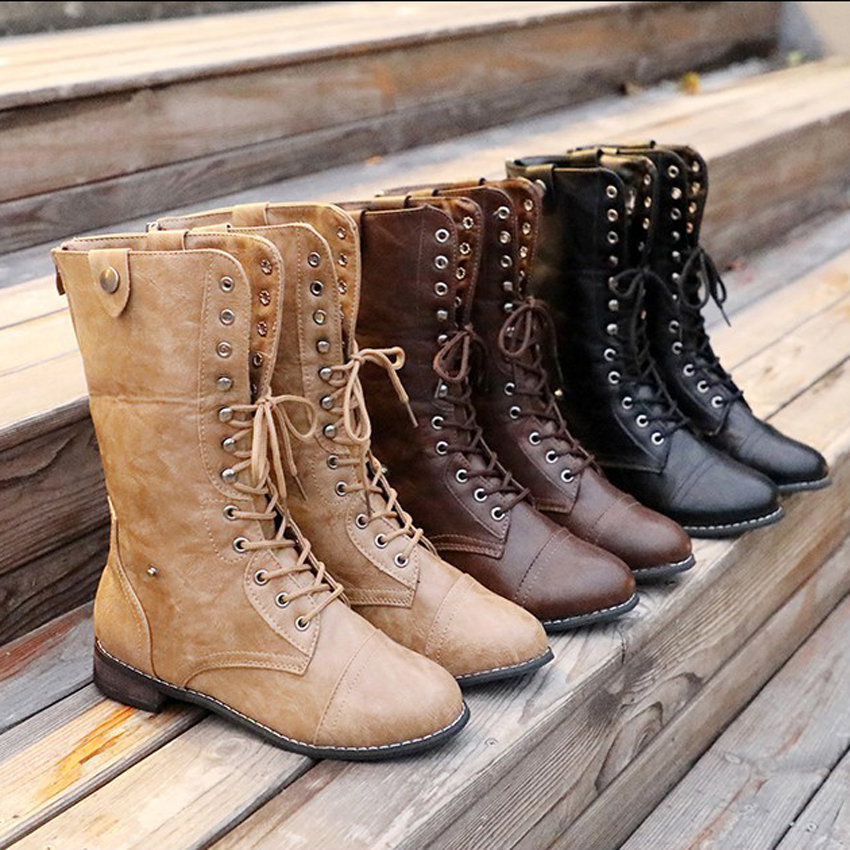 Women Ankle Mid Calf Boots Khaki Brown Black Rubber Boots Spring Autumn Winter Female Shoes Casual Lady Shoes Woman Footwear in Ankle Boots from Shoes