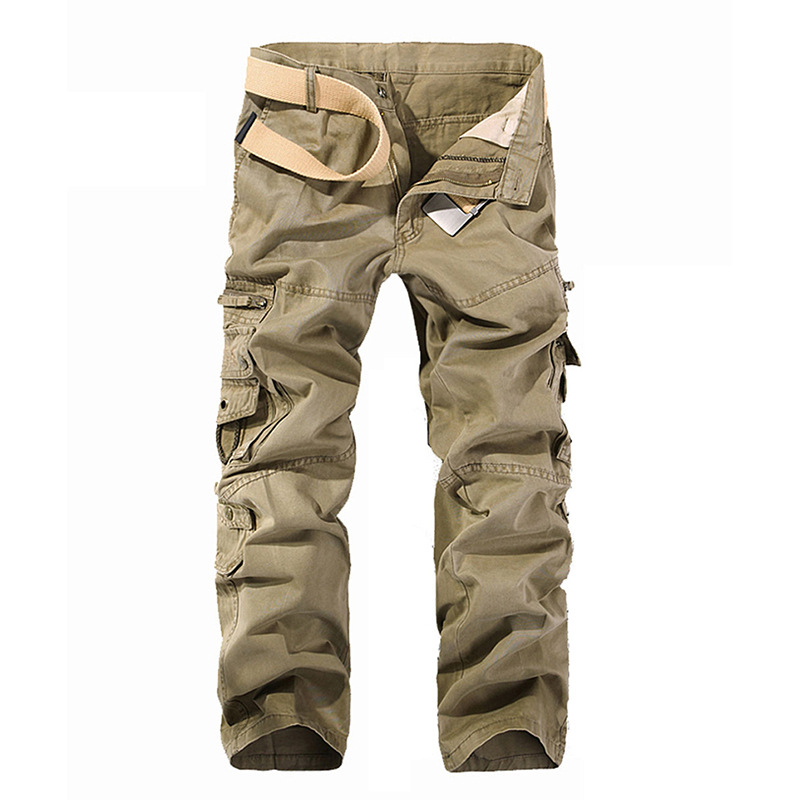 Hot New Mens Military Styles Multi-Pockets Cargo Trousers Full-Length Loose Mens Large Size Mid-Waist Fit Casual Trousers charmkpr mens military outdoor loose large size cotton multi pockets cargo pants