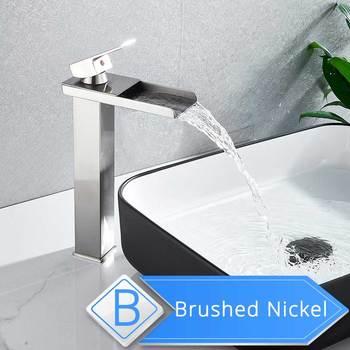 Brushed Nickel Waterfall Basin Faucet Single Lever Bathroom Vessel Sink Tap Deck Mounted Brass Lavatory sink Mixer Basin Tap 16