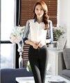 Verão Elegante Trabalho Ternos Profissionais Terninhos Formal Uniforme Feminino Estilo Tops E Calças Escritório Ladies Calças Conjuntos