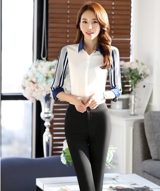 Verano Elegante Ropa de Trabajo Formal Profesional Estilo Uniforme Pantsuits Femenina Tops Y Pantalones Señoras de la Oficina Pantalones Conjuntos