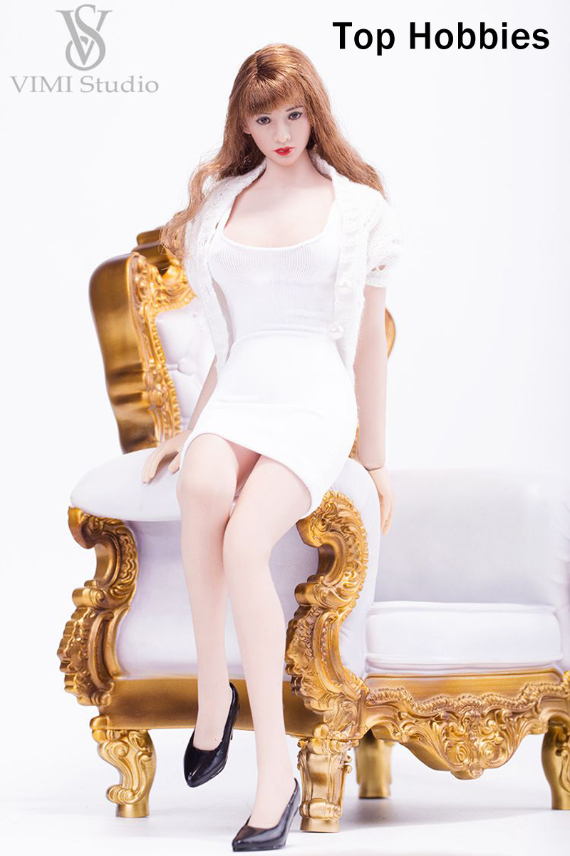 White VIMI 1/6 Female Slim Tight Skirt Openwork Sweater Clothes Set Fit/12 Phicen/VERYCOOL/TTL/Jodoll/Toys Body Doll VS039B