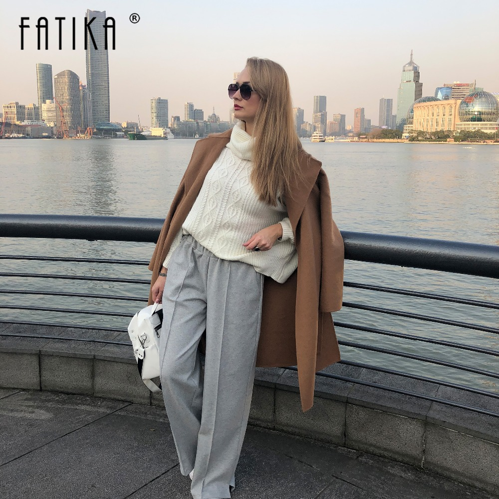 FATIKA Autumn Winter Women Loose Casual Long Pants New 19 Elastic Waist Fashion Thick Wide Leg Pants Stylish Trousers 3