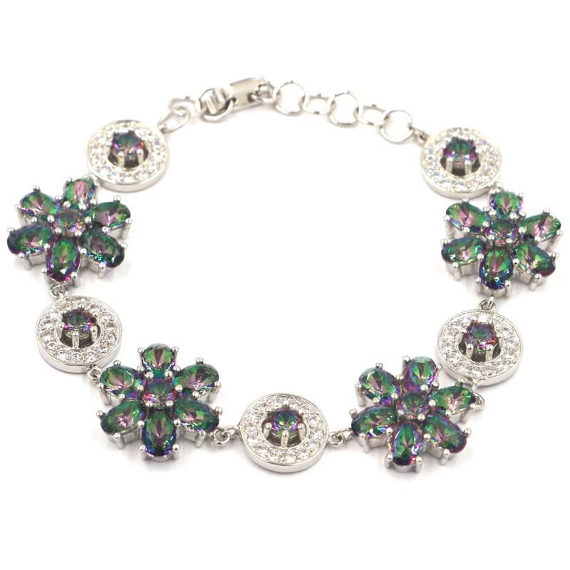 SheCrown Fire Rainbow Mystic Topaz CZ Gift For Ladies Silver Bracelet 7 0 7 5in quot 36x18mm in Bracelets amp Bangles from Jewelry amp Accessories