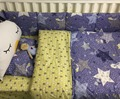 7Pc Crib Infant Room Kids Baby Bedroom Set Nursery Bedding  Blue Star Cot bedding set for newborn baby girls