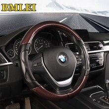 Carbon Fiber Sport Genuine Leather Car Steering Wheel Cover Size M 38cm for BMW X1 X3 X5 X6 E36 E39 E46 E30 E60 E90 E92