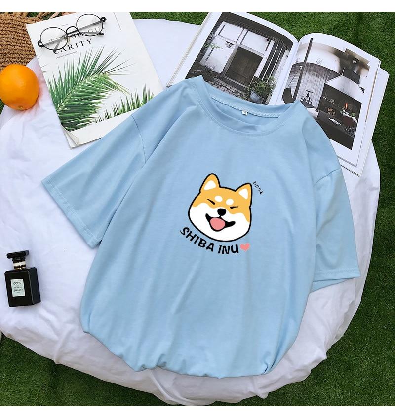 Shiba T Shirt Women Summer Kawaii Funny Cartoon Tee Shirt Femme Korean Fashion Clothes Casual Streetwear Harajuku Camiseta Mujer (12)