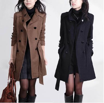 2016 Nova Mulheres Trench Coat De Lã Inverno Fino Dupla Breasted Casaco de Inverno Casacos Longos Casacos para As Mulheres