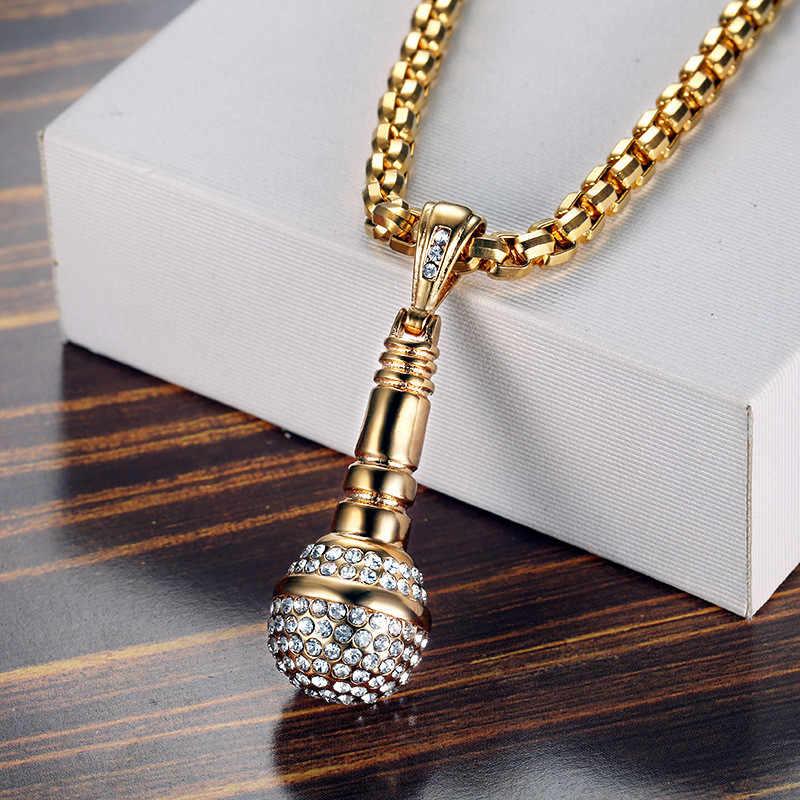 Hip Hop Iced Out Bling mikrofon wisiorki naszyjniki dla kobiet/mężczyzn biżuteria ze stali nierdzewnej muzyka Hippie Dropshipping