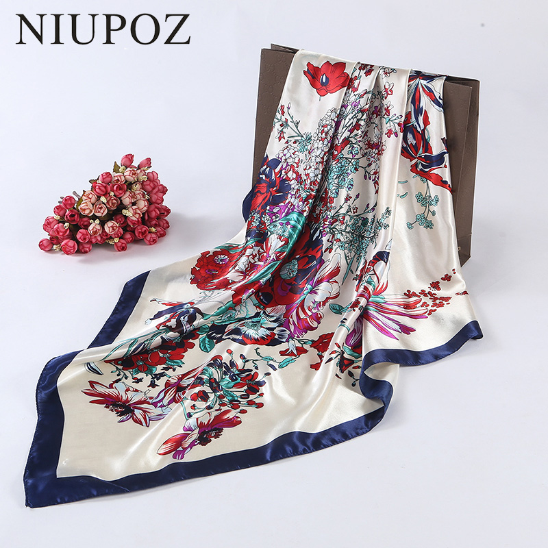 Fashion Design Square <font><b>Silk</b></font> <font><b>Scarf</b></font> Women Foulard Flower Bandana Ladies Shawl Hijab Elegant Headband Ring <font><b>Scarf</b></font> <font><b>90</b></font><font><b>*</b></font>90cm M207 image