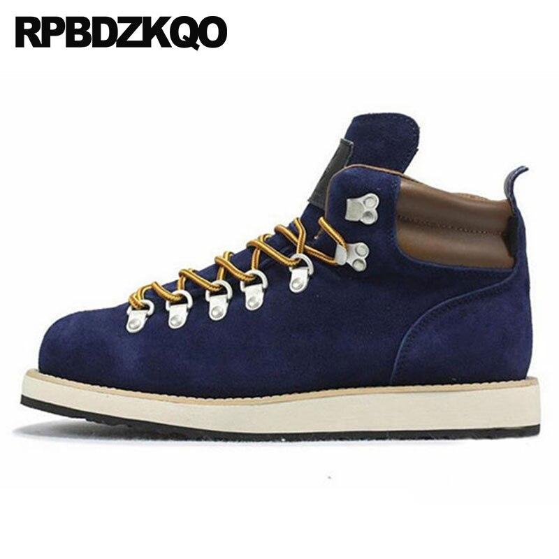 ad32477f4 Qualidade Trabalho Luxo Rendas Designer Dos Camurça Bege Segurança Size Homens  Botas Alta Sapatos azul Até Couro ...