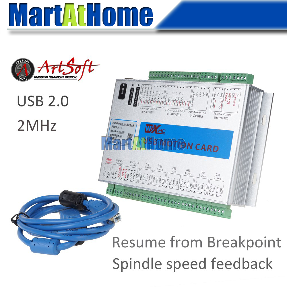 XHC MK6-V Mach3 USB 4 Axis CNC Motion Control Card Breakout Board 2 MHz Support Resume from Breakpoint & Spindle Speed Feedback freeshipping 0 to 10 vpwm spindle speed controller mach3 interface board