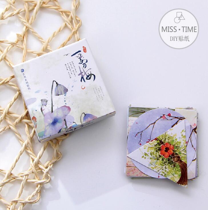 Sweet Plum Motif Decorative Sticker Set Diary Album Label Sticker DIY Scrapbooking Stationery Stickers Escolar