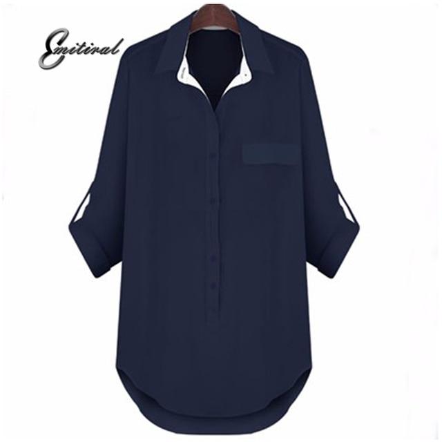 2017 الربيع الأوروبية أزياء نمط المرأة بلوزة كم طويل الشيفون المجهزة قميص قمم عارضة أنيقة فضفاضة زائد الحجم xl-4xl 5xl