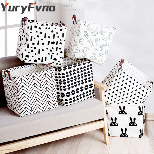Yuryfvna Toy Storage Basket Fabric Bins Collapsible Laundry Clothes Bag Linen Nursery