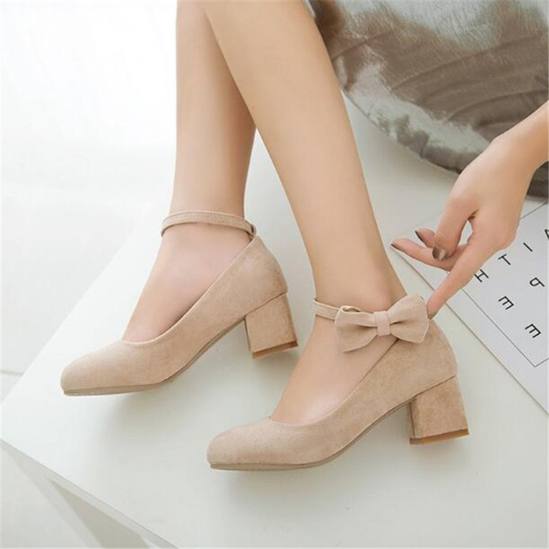Image 4 - New Spring/Autumn High heeled Shoes Girls Princess Flock Bow Student High heels Children School Kids Performance Shoes 041-in Leather Shoes from Mother & Kids