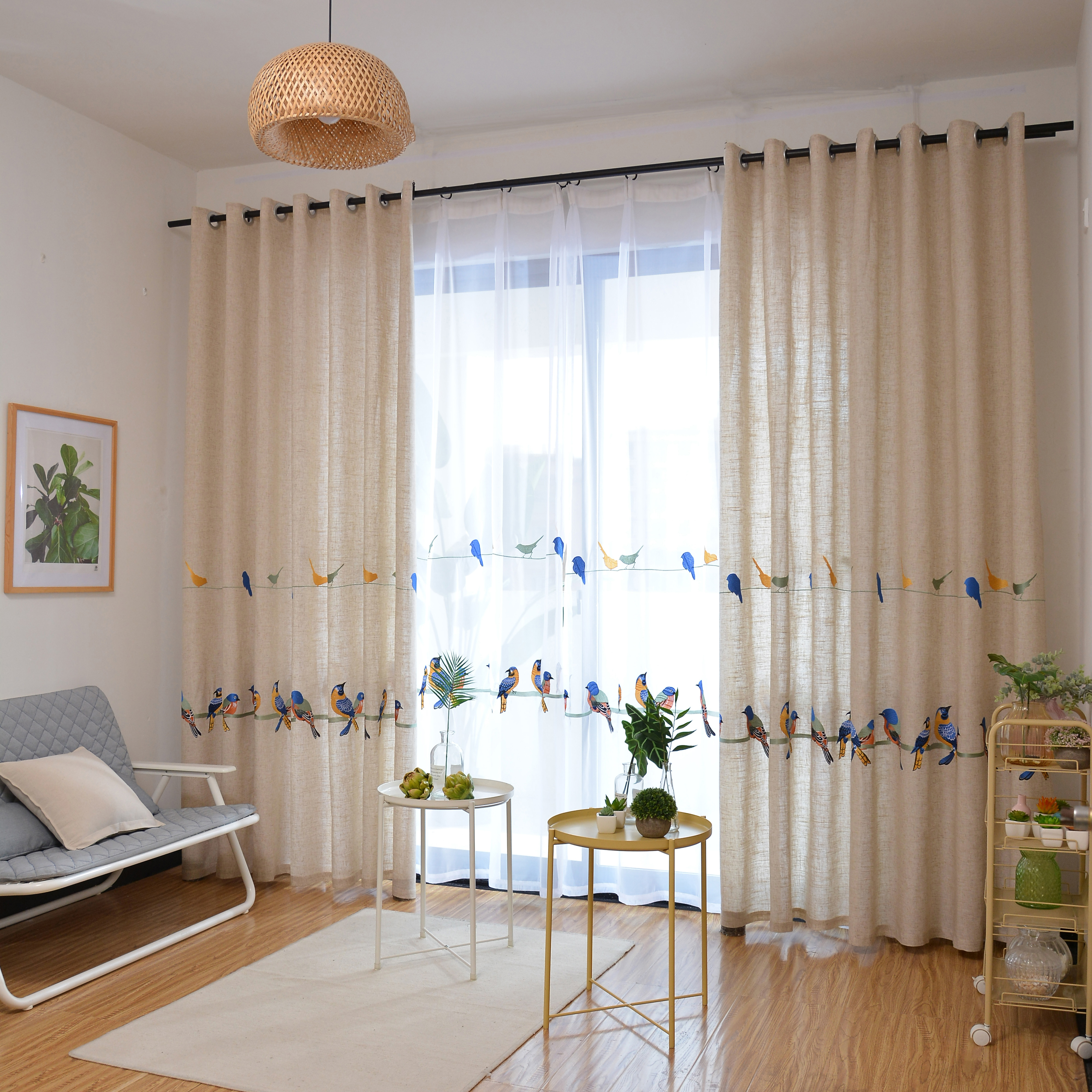 Image 3 - Cotton Linen Curtains for Living Room Bedroom Pastoral Curtain  with Embroidery Birds White Tulle Sheer Curtain Window  TreatmentCurtains