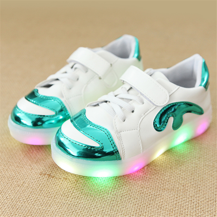 Hot Sale Children Girls Led Luminous Shoes With Light For Girls Sneakers With Lights White 2017 New Fashion Footwear 50Z0048 new hot sale children shoes pu leather comfortable breathable running shoes kids led luminous sneakers girls white black pink